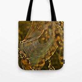 Autumn sunrise with spider web Tote Bag