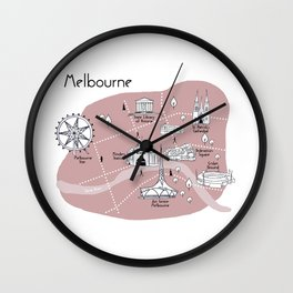Mapping Melbourne - Pink Wall Clock