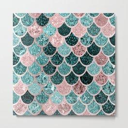 Mermaid Fish Scales, Pink, Rose Gold, Teal, Emerald Green Metal Print