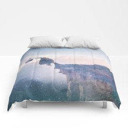 Falling Stars Surreal Levitation Off a Cliff Comforters
