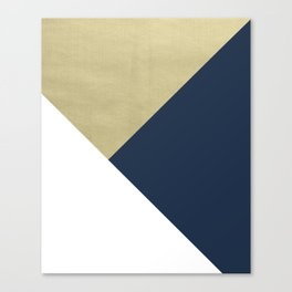 Gold meets Navy Blue & White Geometric #1 #minimal #decor #art #society6 Canvas Print