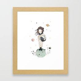 Astronaut girl, nursery decor girl, girl room decor Framed Art Print