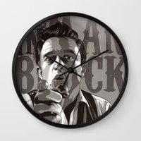 johnny cash Wall Clocks featuring Johnny Cash by Denis O'Sullivan