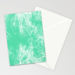 White silhouetted trees on green Stationery Cards
