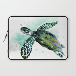 Sea Turtle, underwater scene,  green turquoise beach house design Laptop Sleeve