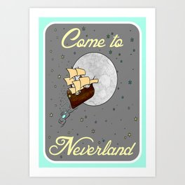 Come to Neverland on Gray with Blue Border Art Print