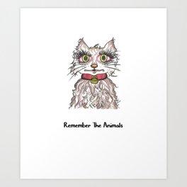 Remember The Animals Cute Cat T-Shirt Art Print