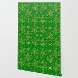 DP044-6 Gold snowflakes on green Wallpaper