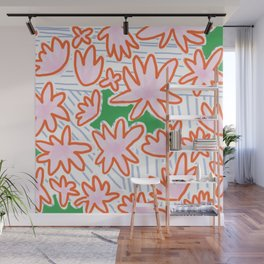 Flowers, lines & green Wall Mural