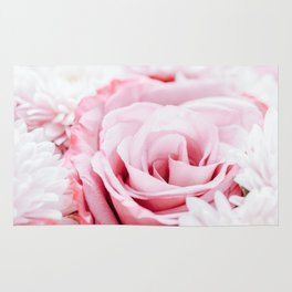 Pink Roses and Gerbera Daisy Flowers Wedding Bouquet, Love Photo, Romantic Celebration, Wall Art Rug
