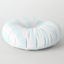 Striped I - Turquoise stripes on white - Beautiful summer pattern Floor Pillow