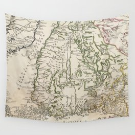 Vintage Map of Finland (1740s) Wall Tapestry