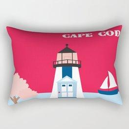 Cape Cod, Massachusetts - Skyline Illustration by Loose Petals Rectangular Pillow
