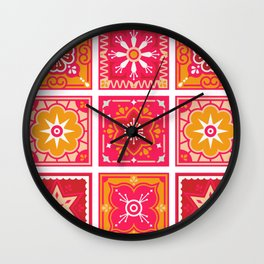 Talavera Mexican Tile – Hot Pink & Orange Palette Wall Clock