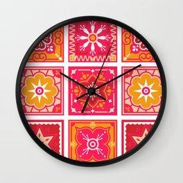 Talavera Mexican Tile – Hot Pink & Orange Palette Wall Clock