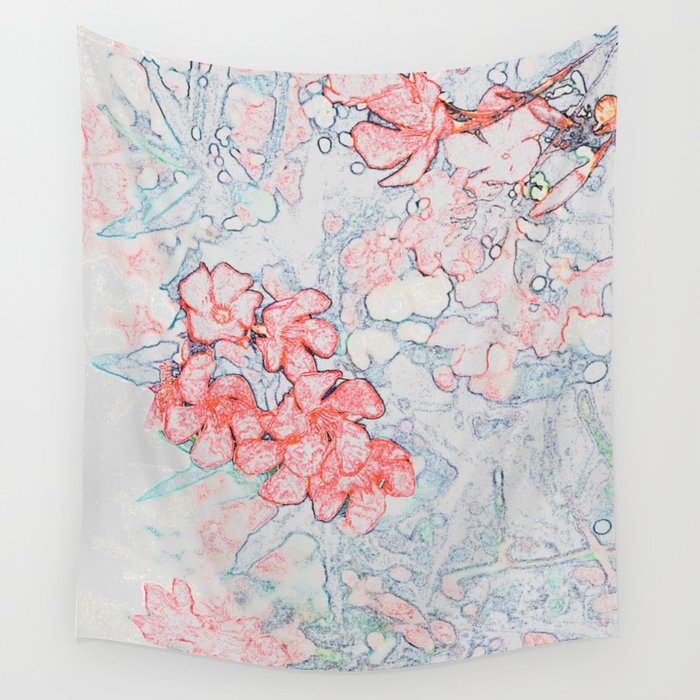 Spring Red Flowers Wall Tapestry