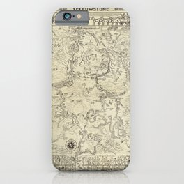 1931 Vintage Illustrative Map of Yellowstone Park iPhone Case