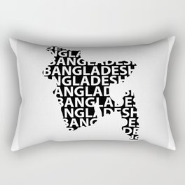 Map of Bangladesh with typography- International mother language day Rectangular Pillow