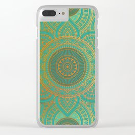 """Sea Turquoise Pattern Mandala (Teal & Gold)"" Clear iPhone Case"