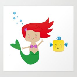 Happy Mermaid Art Print