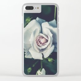 FLOWER - ROSE - WHITE Clear iPhone Case