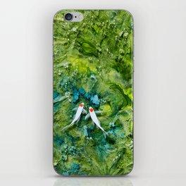 Goldfish on colorful background iPhone Skin