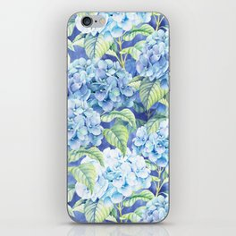 Botanical pink blue watercolor hortensia floral iPhone Skin