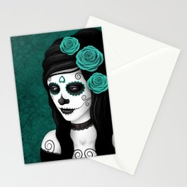 Day of the Dead Sugar Skull Girl with Teal Blue Roses Stationery Cards