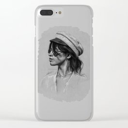 Camila Gray Sketch Clear iPhone Case
