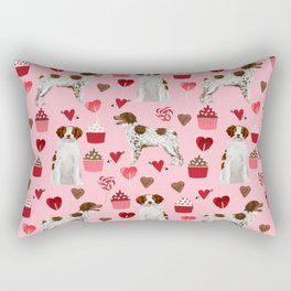 Brittany Spaniel cupcakes valentines day gifts for dog lover pet portraits dog breeds Rectangular Pillow