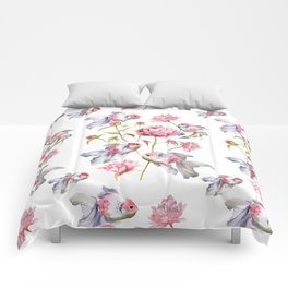 Blush Pink Peony Flowers with Fish Design Comforters