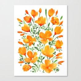 ef71866632ef Watercolor California poppies Canvas Print