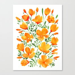 Watercolor California poppies Canvas Print