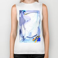 skiing Biker Tanks featuring Downhill Skiing by Robin Curtiss