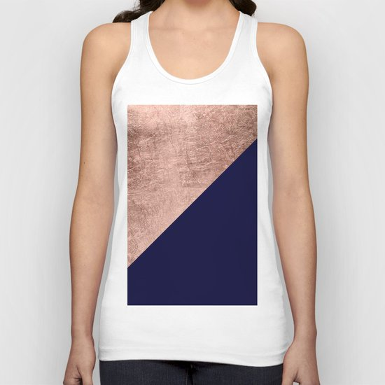 Minimalist rose gold navy blue color block geometric by girlytrend