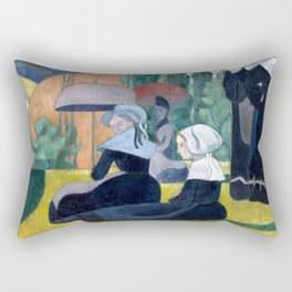 Émile Bernard - Breton Women with Umbrellas - Les Bretonnes aux Ombrelles Rectangular Pillow