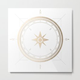 Gold Compass on White II Metal Print