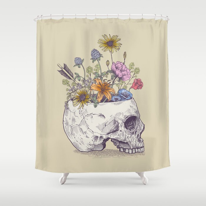 half skull flowers shower curtain by thirstyfly society6. Black Bedroom Furniture Sets. Home Design Ideas