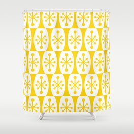Mid Century Modern Atomic Fusion Pattern Yellow Shower Curtain