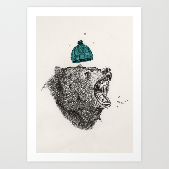 bear and cigaret  Art Print