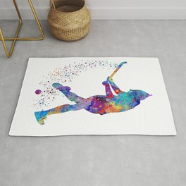 Girl Field Hockey Watercolor Print Field Hockey Gift Sports Poster Home Decor Girl's Room Decor Rug
