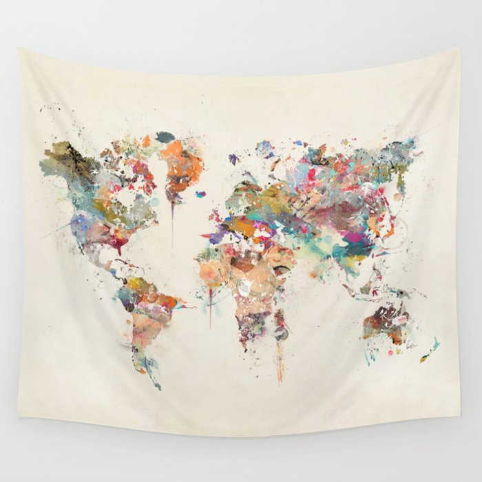 World map watercolor wall tapestry by bribuckley society6 world map watercolor wall tapestry gumiabroncs Choice Image
