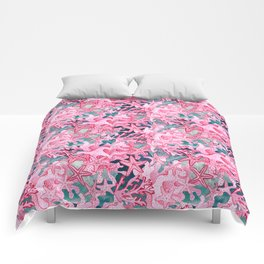 Pink Starfish and coral watercolor reef Comforters