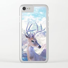 Fairy deer in the mountains Clear iPhone Case