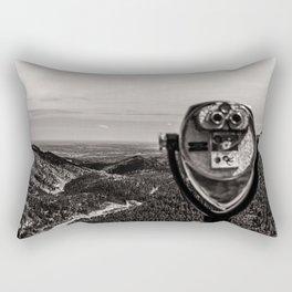 Mountain Tourist Binoculars Black and White Rectangular Pillow