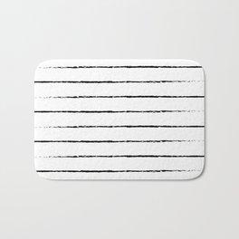 Minimal Simple White Background Black Lines Stripes Bath Mat
