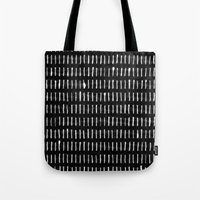 woodstock Tote Bags featuring White on Black Woodstock Pattern by LacyDermy