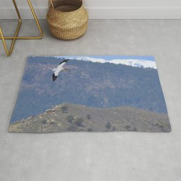 Watercolor Bird, American White Pelican 08, Longmont, Colorado Rug