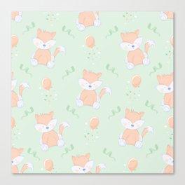 Happy Birthday Orange Fox on Green Background Pattern Canvas Print