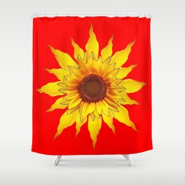 Decorative Yellow Sunflower On Chinese red Art Shower Curtain